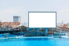 Poteau indicateur bleu de panneau d'affichage blanc vide se tenant dans l'aquarium image stock
