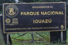 Poteau indicateur d'automne d'Iguazu Image libre de droits