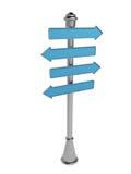 Poteau indicateur d'isolement sur un fond blanc. Indicateur de la publicité. 3D Photos libres de droits