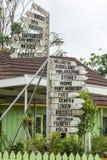 Poteau indicateur dans un jardin au Tonga Images libres de droits
