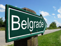 Poteau indicateur de Belgrade photographie stock libre de droits