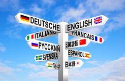Poteau indicateur de langues Images libres de droits