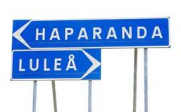 Poteau indicateur de Lulea et de Haparanda Photos libres de droits