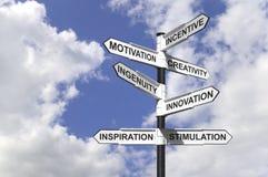 Poteau indicateur de motivation Image stock