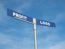 Poteau indicateur de profits et pertes photographie stock libre de droits