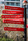 Poteau indicateur de tourisme de Sydney Images libres de droits
