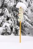 Poteau indicateur de touriste de l'hiver Photo libre de droits