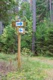 Poteau indicateur de traînée de forêt avec diriger des flèches Photo stock