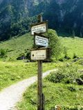 Poteau indicateur en Bavière chez Koenigssee Photo stock