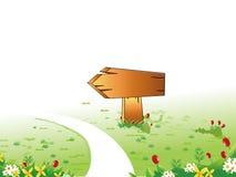 Poteau indicateur en bois illustration stock