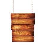Poteau indicateur en bois accrochant sur des chaînes Image libre de droits