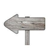 Poteau indicateur en bois des planches foncées d'isolement sur le fond blanc images stock