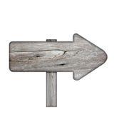 Poteau indicateur en bois des planches foncées d'isolement sur le fond blanc Photo stock