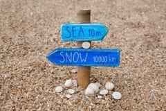 Poteau indicateur fait main sur la plage tropicale dedans Photo libre de droits