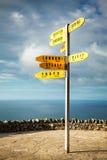 Poteau indicateur international, cap Reinga Photos stock