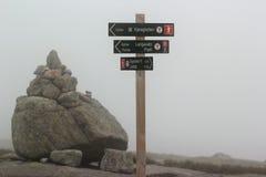 Poteau indicateur montrant la direction à Kjerag, Norvège image stock