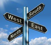 Poteau indicateur occidental du sud est du nord image stock