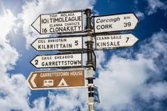 Poteau indicateur pour des endroits dans le liège Irlande Image libre de droits