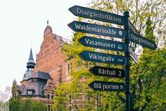 Poteau indicateur pr?s de mus?e nordique ? Stockholm, Su?de images libres de droits