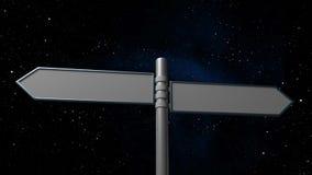Poteau indicateur sur le fond de galaxie de l'espace Photos stock