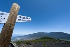 Poteau indicateur vers l'étoile polaire Image stock