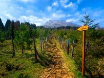 Poteau indicateur vers la crête de montagne de Gorbeia photo stock