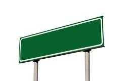Poteau vert blanc vide de guide de signe de route d'isolement Images libres de droits