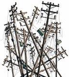 Poteaux électriques cassés Images libres de droits
