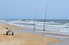 Poteaux de pêche au surfcasting Photographie stock libre de droits