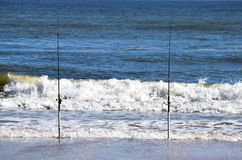 Poteaux de pêche en ressac, la Floride Photo libre de droits