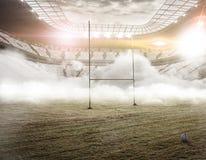 Poteaux de rugby dans le regain images stock