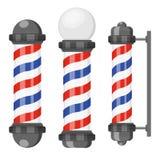 Poteaux de salon de coiffure avec des rayures d'isolement sur le fond blanc Signe de raseur-coiffeur, symbole de coiffeur dans le illustration de vecteur