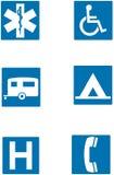 Poteaux de signalisation d'information Photos libres de droits