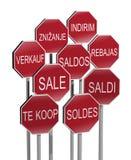 Poteaux de signalisation de vente Photo libre de droits