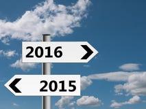 Poteaux indicateurs de nouvelle année, direction 2015, 2016 Images stock
