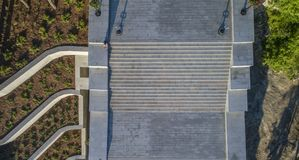 Potemkin Steps Istanbul Park Aerial in Odessa. Drone shot looking directly down at the newly refurbished Potemkin Stairs and Istanbul Park in Odessa Ukraine royalty free stock photography
