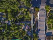 Potemkin Steps Istanbul Park Aerial in Odessa. Drone shot looking directly down at the newly refurbished Potemkin Stairs and Istanbul Park in Odessa Ukraine royalty free stock image