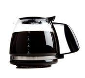 Potenciômetro cheio do café preto no branco fotografia de stock royalty free