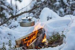 Potenciômetro da chaminé e do café em Finlandia Há um por do sol no fundo fotos de stock