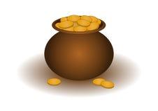 Potenciômetro de argila com ouro Fotos de Stock Royalty Free