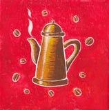 Potenciômetro de cobre do café ilustração do vetor