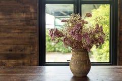 Potenciômetro de flor no café do café Flores secadas em um vaso Nascer do sol na janela fotografia de stock royalty free