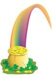 Potenciômetro de ouro na extremidade do arco-íris Imagens de Stock