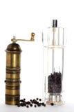 Potenciômetro de pimenta de bronze e novo velhos Imagens de Stock Royalty Free