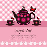 Potenciômetro do chá e copos de chá ilustração stock