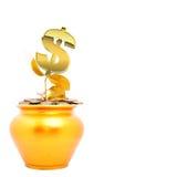 Potenciômetro do ouro com dólar da planta Imagens de Stock