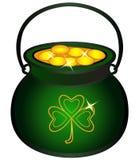 Potenciômetro enchido com as moedas de ouro Caldeirão com ouro, mitologia celta, feriados irlandeses ilustração royalty free