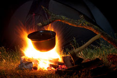 Potenciômetro no incêndio fotos de stock royalty free