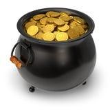 Potenciômetro preto completamente de moedas de ouro ilustração royalty free