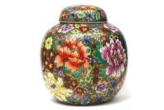Potenciômetro velho do chá com desenhos chineses fotos de stock royalty free